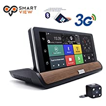 SmartView7'' Smart Android Rear View Mirror Quad Core with GPS Navigation,Dash Camera,WIFI,Back Up Camera,Bluetooth,1GB RAM 8GB ROM 32GB Card,Bracket #1 #3 #7 for Honda,Toyota,Ford,V.W.,Lexus,Mazda,and More