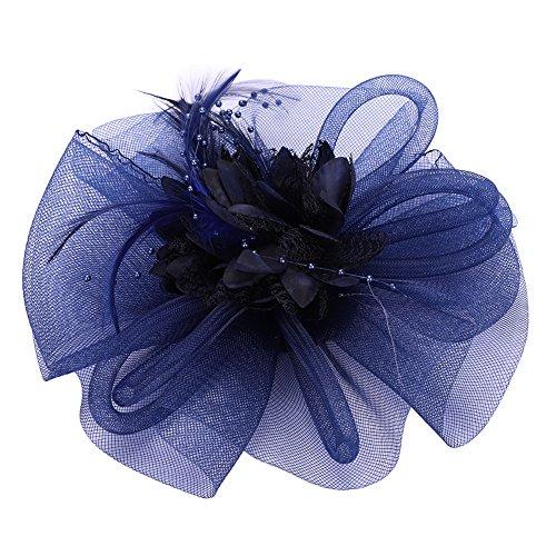 Women Girls Fascinators with Headbands Lady's Elegant Tea Party Bridal Derby Hat Flower Hats Feather Mesh Net Lace Veil Fascinators ()