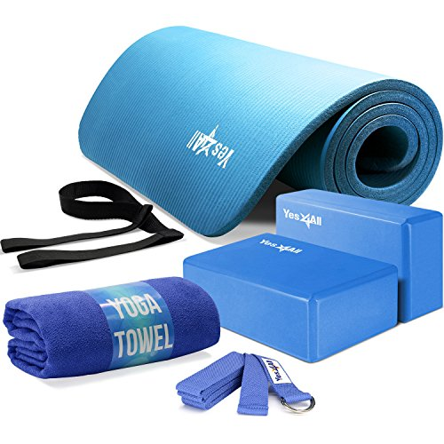 Yes4All Yoga Starter Set Kit - Include: 2 Yoga Blocks, Yoga Strap with D-ring, Yoga Towel & NBR Yoga Foam Mat - Yoga Kit for Beginners (Blue)