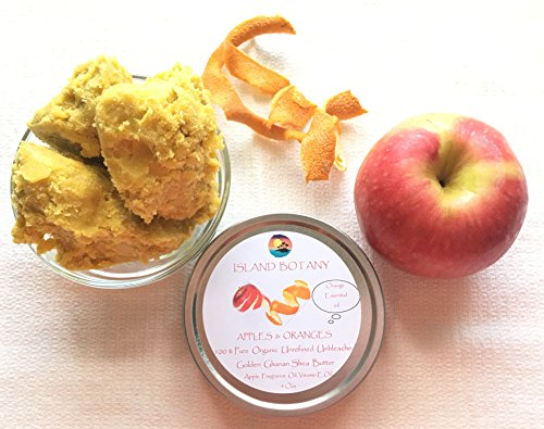 Apple & Oranges 100% Pure Shea Butter. Fair trade, organic, raw, unrefined, unbleached, golden Shea Butter. Soothes, Heals, nourishes, protects, soften, hydrate irritated skin & dermatitis 4 ozs Review