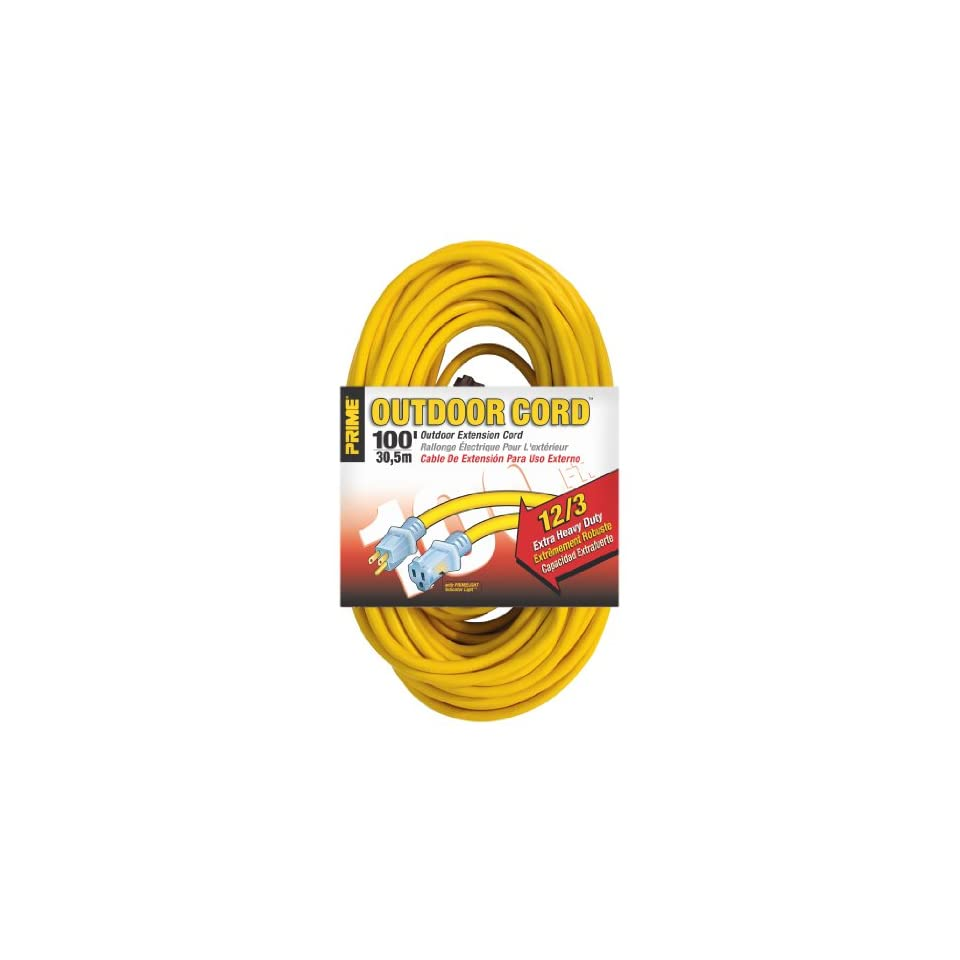 Prime Wire & Cable EC511835 100 Foot 12/3 SJTW Jobsite Outdoor Extension Cord with Prime light Indicator Light, Yellow