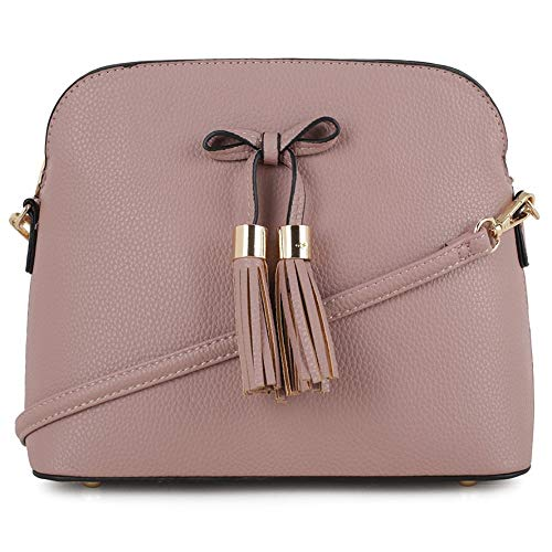 SG SUGU Lightweight Medium Crossbody Bag | Bow Tassel Zipper Pocket | Adjustable and Removable Strap | Mauve