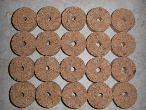 20 Natural/Blonde Burl Cork Rings; 1.25
