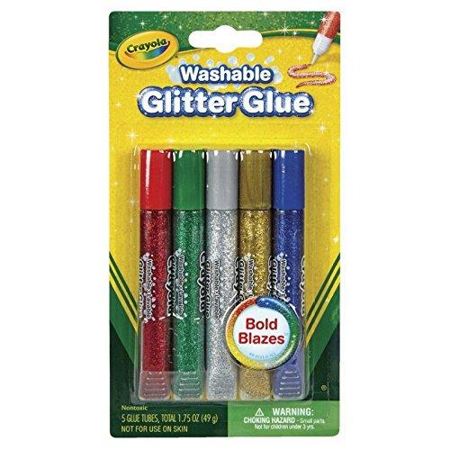 (Crayola Washable Glitter Glue, Bold Blazes, Assorted Colors, Set of 5)