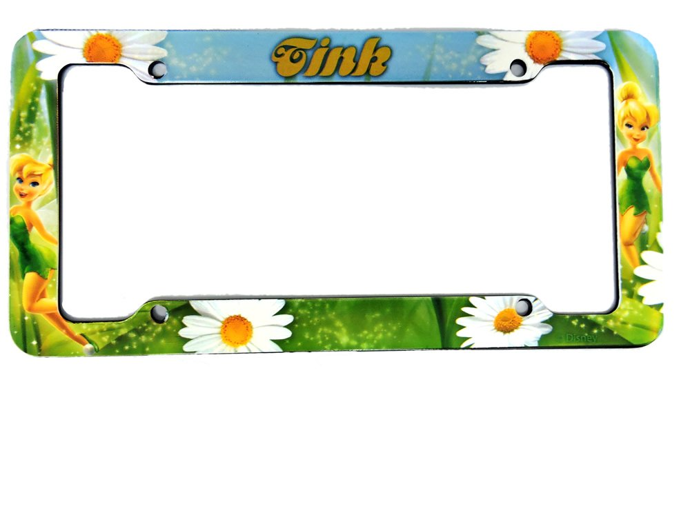 Tinkerbell with White Flowers Plastic License Plate Frame With Disney Fairies Design