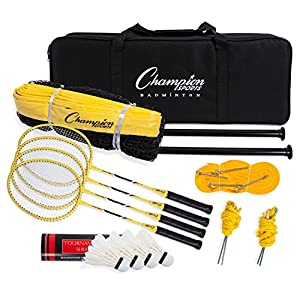 Champion Sports Outdoor Badminton Set: Net, Poles, 4 Rackets, 4 Shuttlecocks & Bag Portable Equipment for Backyard Games, Team Sports, Adults & Kids