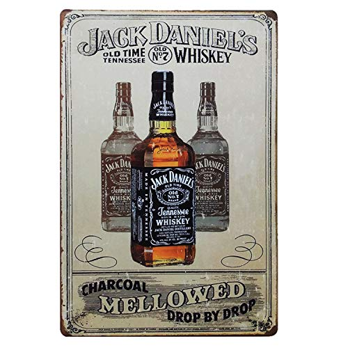 - TISOSO Jack Daniels Vintage Style Plaque Metal Tin Sign Poster Plate Whiskey Wall Decor Home Gift 12 X 8