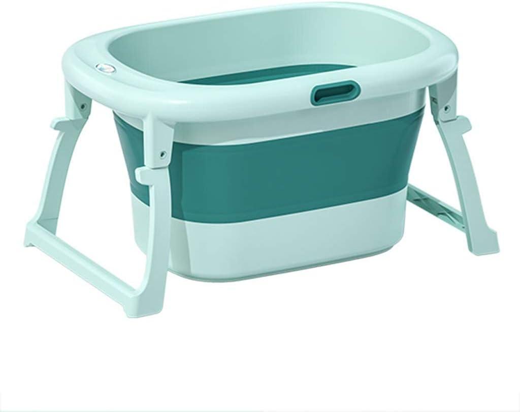 バスタブ 新生児用浴槽付きの折り畳み式ポータブル 便利な収納 80X56X43cm GUOGUO (Color : Green)