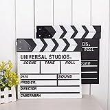 2Pcs Professional Vintage Wooden TV Movie Film Clap Board Slate Cut Prop Director Clapper Clapboard Slateboard, Mini Size 7.87''x7.87''/20cm x 20cm(White+Black)