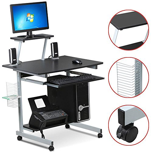 Yaheetech Mobile Computer Desks with Keyboard Tray, Printer Shelf and Monitor Stand Small Space Home Office Furniture (Black)