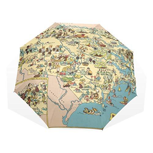 - XiangHeFu Umbrella North Carolina State Cartoon Pattern Auto Open Close 3 Folds Lightweight Anti-UV