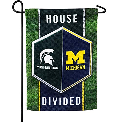 Team Sports America Michigan vs Michigan State House Divided Suede Garden Flag