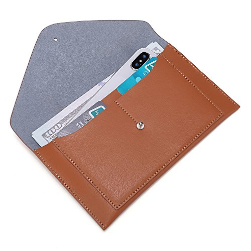 Leather Envelope Wallet - Womens Envelope Clutch Wallet Leather Card Phone Coin Holder Organizer, Brown