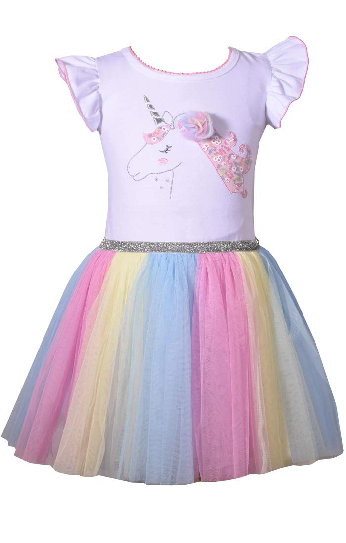 Bonnie Jean Girl's Unicorn Rainbow Dress for Baby Toddler and Little Girls (4) by Bonnie Jean