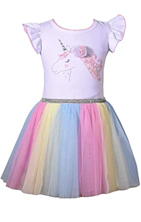 c6fb09e7703de Bonnie Jean Girl's Unicorn Rainbow Dress for Baby Toddler and Little Girls  (0-3