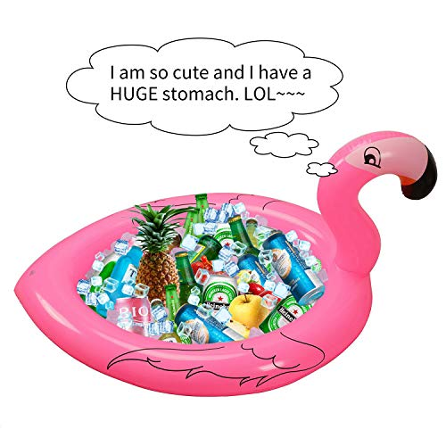 InnoBase Inflatable Flamingo Cooler Drink Holders Flamingo Beach Hawaiian Luau Pool Birthday Bachelorette Party Supplies Decorations Salad Buffet Serving Bar Tray Ice Chest for BBQ Picnic
