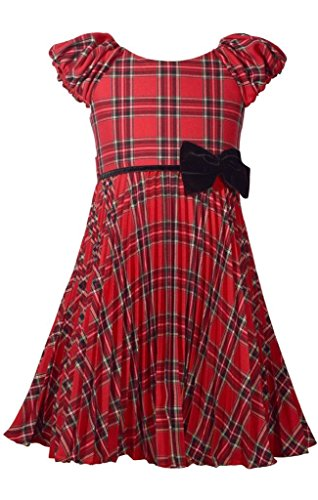 Bonnie Jean Red Plaid Christmas Dress with Pleated Skirt and Velvet Bow 12Y