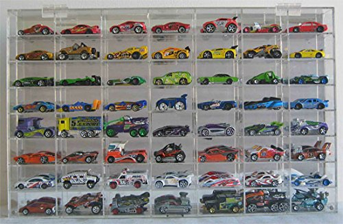 Hot Wheels Display Case 56 compartment for 1/64 scale Nascar Diecase Pixar Car Redline (AHW64-56) Scale Diecast Acrylic Display