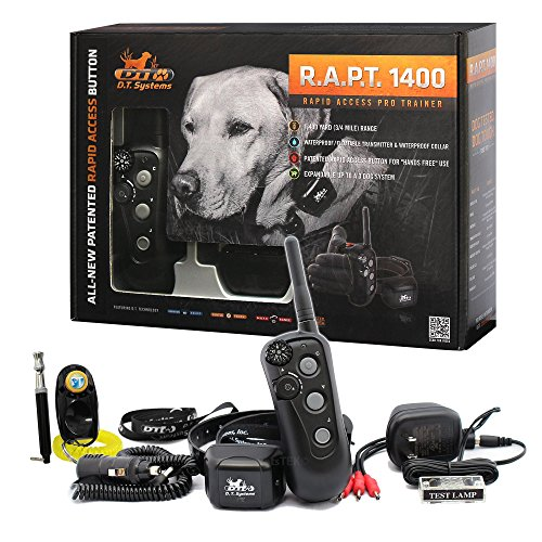 D.T. Systems - R.A.P.T 1400 Series Remote Control Dog Training Electric Shock Collar System with PetsTEK Clicker and Whistle Training ()