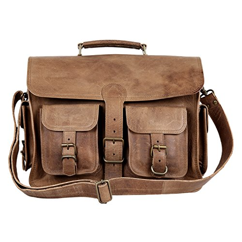 Enew 15 Inch Vintage Handmade Genuine Natural Leather Messenger Executive Bag for Laptop Briefcase Satchel Bag
