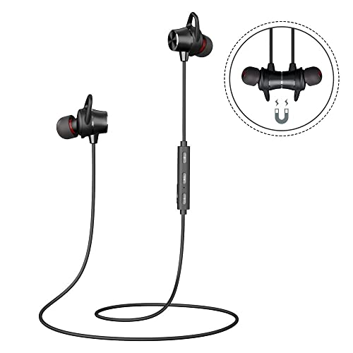 Bluetooth Headphones Wireless Magnetic Earbuds Stereo In-Ear Earphones Noise Cancelling Running Headset with Mic and 8 Hours Playtime for iPhone Samsung iPad Huawei and Smartphones