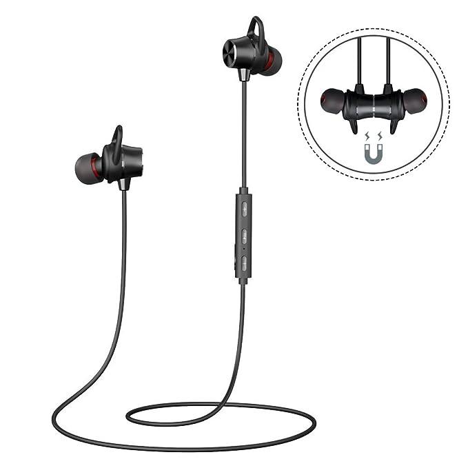 Auriculares Magnéticos Bluetooth Running Cascos Bluetooth Inálambrico Sonido Estéreo de Calidad Superior Sweatproof IPX4 Soporte Siri Micrófono Incorporado Perfecto para Deporte Correr Trotar Gimnasio