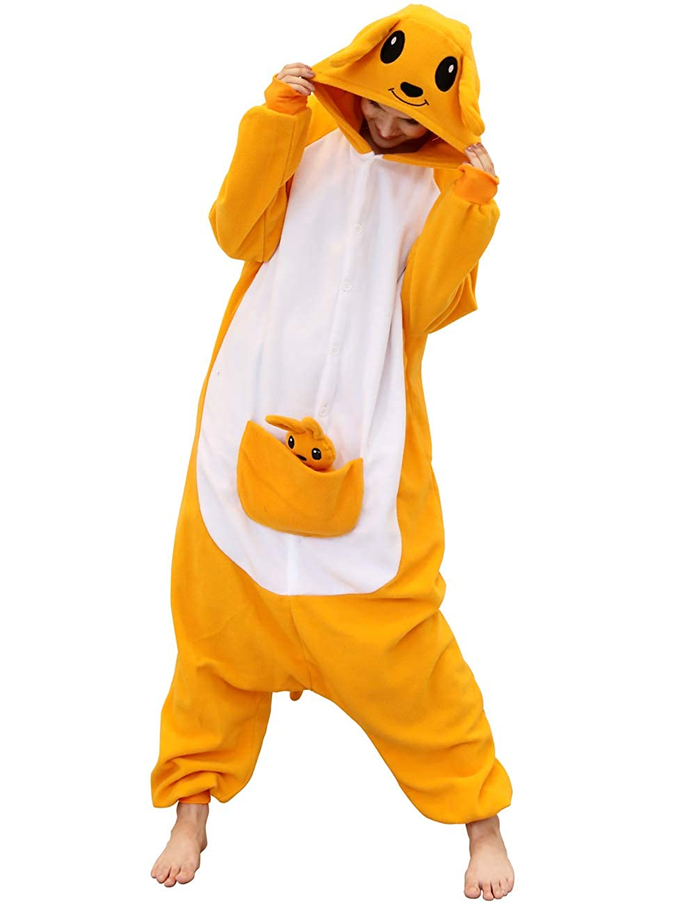 Adult Kangaroo Onesies Pajamas Cosplay Animal Homewear Sleepwear Jumpsuit Costume Women Men