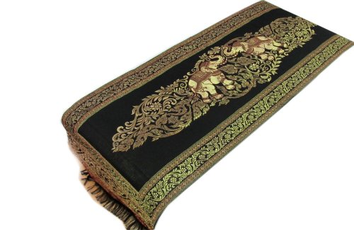 Danai Presents.LOVELY ELEPHANT FOR KING SIZE BED BEAUTIFUL BED RUNNER WIDTH 19 IMCHES LONG 80 INCHES by Thai