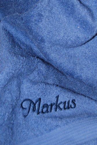 Duschtuch mit Namen oder Wunschbegriff bestickt, 70x140cm, Fjord/Blau, Stickfarbe Blau