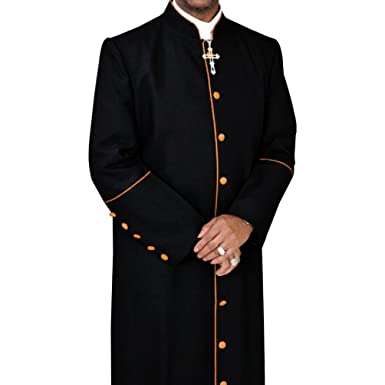 6c55d06b75 Amazon.com  Clergy Robe Cassock for Pastor Black with Gold  Clothing