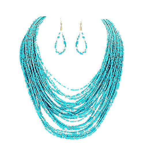 Uniklook Statement Layered Strands Colored Mini Seed Beads Beaded Chunky Wire Necklace Earrings Set Gift Bijoux ()