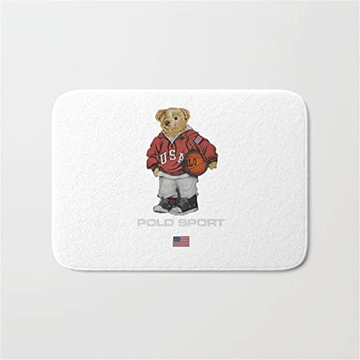 Huang Cong Vintage Polo Bear Bath Mat Doormat 23.6X15.7inch ...
