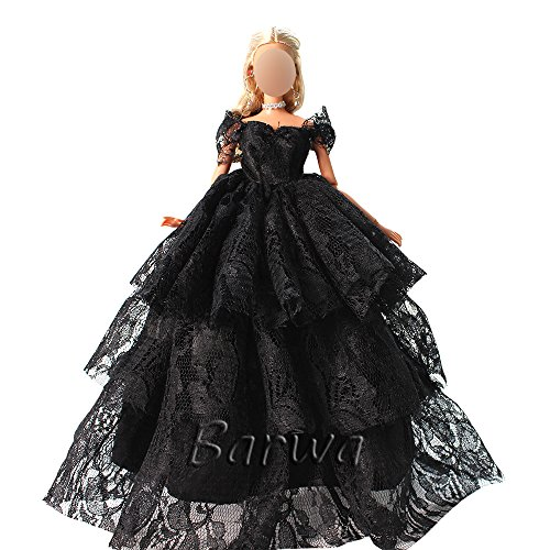 Barwa Sexy Black Lace Princess Gown Dress for Barbie Doll Evening Party Clothes Wears Wedding Dress (Made Outfit)
