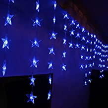 4M x 0.7M 90 LED 8 Modes Star Pentagram Wave Light Indoor / Outdoor Party Christmas Xmas Star Pentagram Wave Shape String Fairy Wedding / Hotel / Festival Curtain Light Curtain Festival Light Christmas Xmas Decoration (Blue)