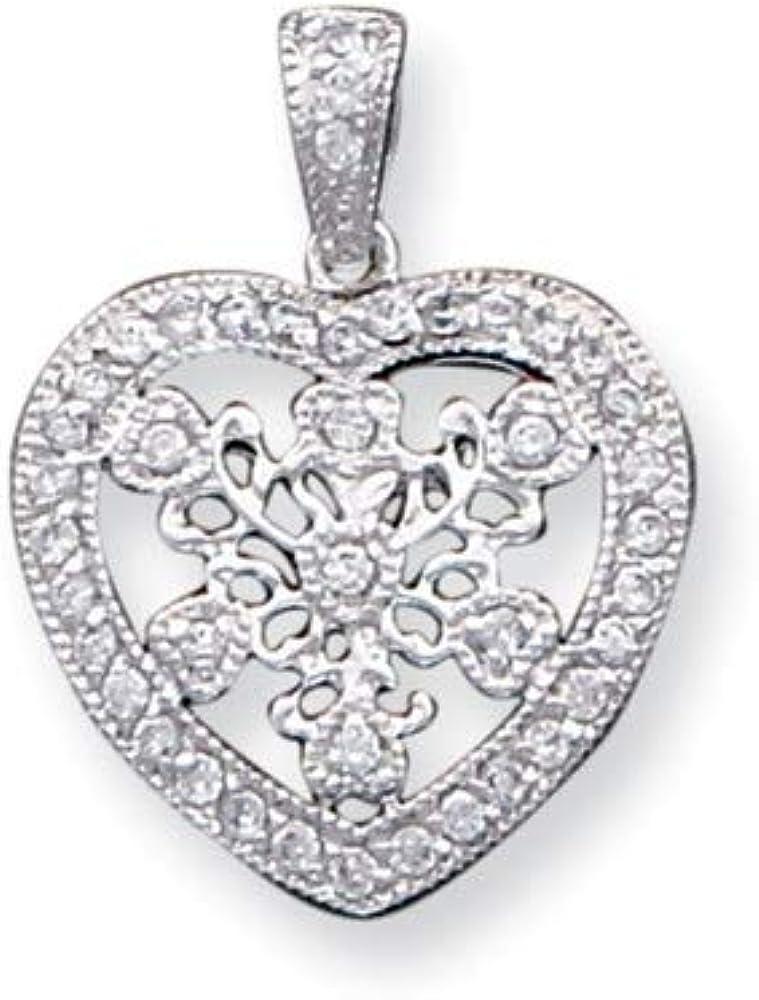 925 Sterling Silver Polished Cubic Zirconia Fancy Heart Pendant