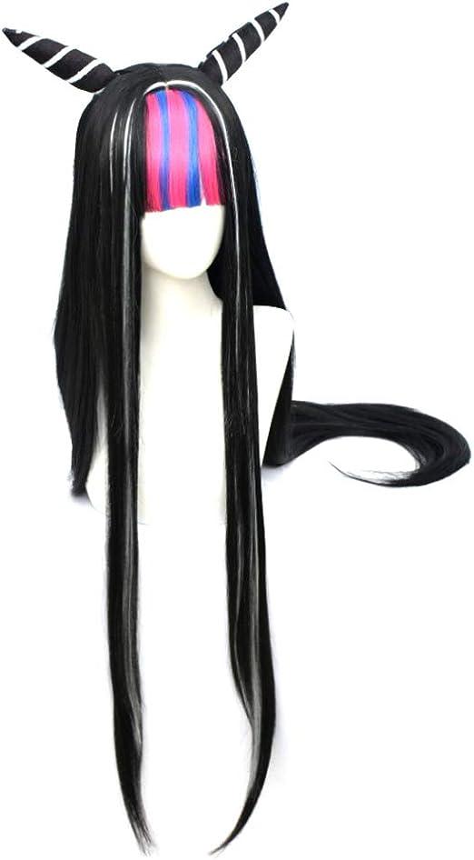 Parrucca cosplay anime Danganronpa Akamatsu kaede per costume da festa Cosplay Parrucca bionda capelli lunghi micro-laminati cos viene fornita con capelli opachi