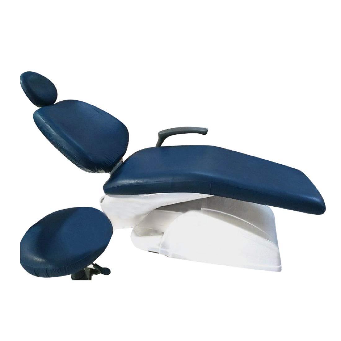 Tinsay 4pcs/Set Pure Colors Elastic Dental Chair Seat Cover Washable Protector Blue