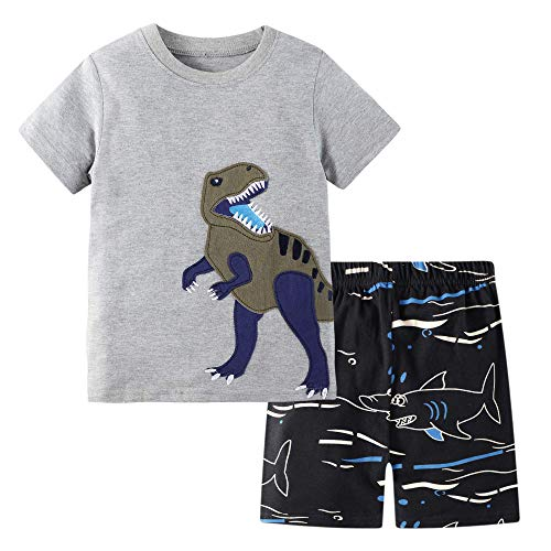 BIBNice Toddler Boys Outfits Summer Clothes Set T-Shirt Shorts Sets Dinosuar Size 2