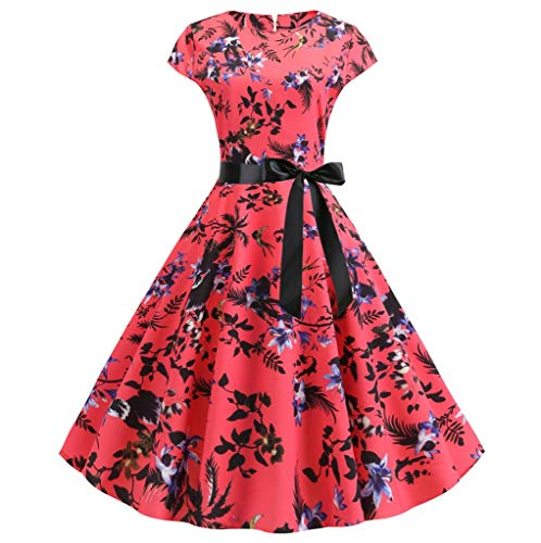 - Gillberry Women's 1950s Cocktail Party Dress Vintage Swing Floral Tea Dress