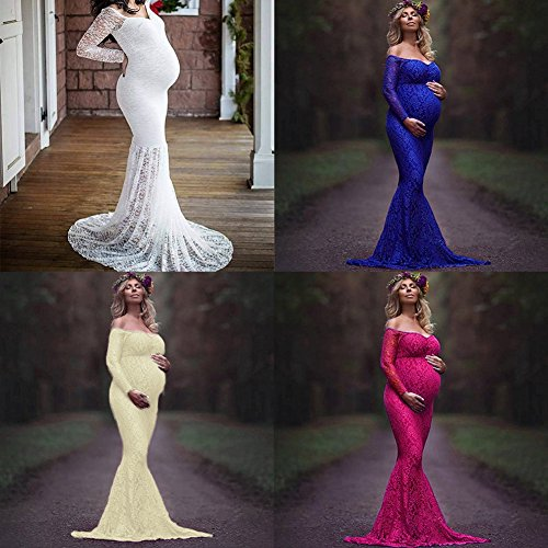 Pregnant Women Mermaid Long Maxi Off Shoulder Gown Photo Shoot Maternity V Neck Lace Dress Baby Shower
