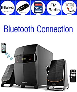 Boytone BT-3685F Wireless Bluetooth 2.1 Multimedia Powerful Bass System with FM Radio Remote Control Aux Port USB/SD Slot /MMC Audio for Phones Tablets Music and Movies.