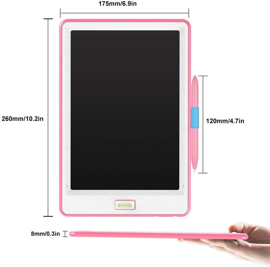 Oureong LCD Writing Tablet 10 Inches Graffiti Pad Paperless LCD Handwriting Drawing Board for Student Electronic Blackboard for Kids Home School Office Color : Pink, Size : 10 inches