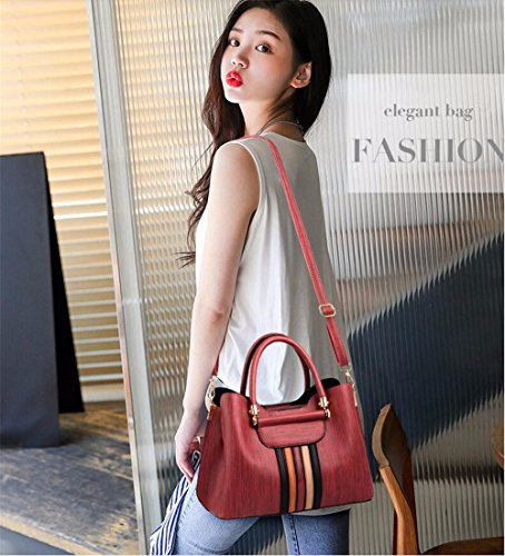 Many Casual Women's Shoulder MSZYZ Pockets Vintage gules Small Capacity PU Body Leather Clutch Cross Soft Shoulder Wristlet Shoulder Bags with Large 75SwqdSr