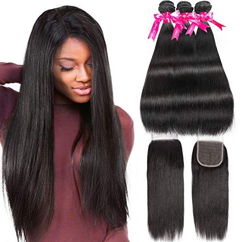 Wingirl-Straight-Hair-3-Bundles-with-Closure-14-16-1812inch-Double-Weft-Remy-Human-Hair-Bundles-with-Closure-8A-Soft-Brazilian-Hair-Bundles-with-Lace-Closure