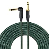 1/4 Inch Guitar Cable 10 Ft 6.35mm Right Angle To Straight Gold Plugs, Electric Instrument Bass Keyboard Cable Amp Cord 1/4 Inch Electric Mandolin Pro Audio cable - Braided Cloth Jacket By Gedkoa