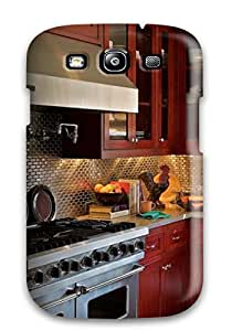 MirabelShaftesbury Snap-on Kitchen With Stainless Steel Tile Backsplash Warm Red Cabinets And Stainless Appliances Case Cover Skin Compatible With Galaxy S3