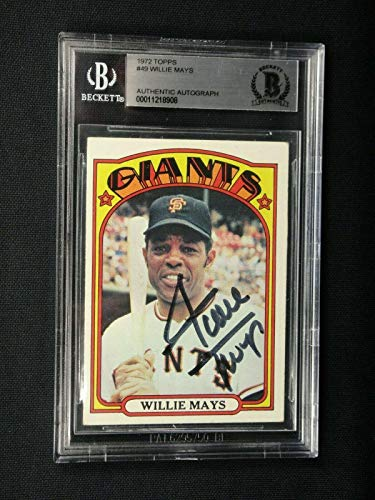 Willie Mays Beckett (bas) Certified Signed 1972 Topps Card #49 Autographed - Beckett Authentication - Baseball Slabbed Autographed Cards