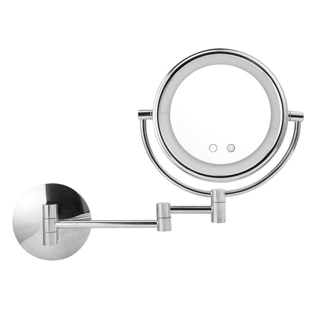 Mirror Wall Mounted Makeup with LED Beauty 3X Magnification Double Side Folding Retractable 360 Rotating Shaving 8 Inch HMYH