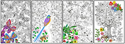 Joy of Coloring Enchanted Gardens Poster 4 Set