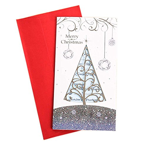 Set of 3 Exquisite Creative Hollow out Christmas Cards Greeting Card with Envelope, G (Xmas Charity Ecards)